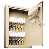 MMF Industries STEELMASTER 30-Key Uni-Tag Single-Tag Compact Steel Key Cabinet (201903003), Sand