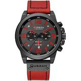 Fashion Big Face Sports Watch for Men Red Leather Wrist Watch Waterproof Analog Male Casual Quartz Watch (Red) (Red)