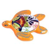 Ceramic wall sculpture, 'Lively Turtle'