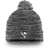 Men's Fanatics Branded Black Pittsburgh Penguins and White Cuffed Knit Hat with Pom