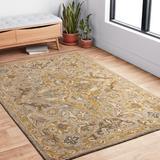Astoria Grand Watertown Oriental Hand Hooked Wool Gray/Brown Area Rug Wool in Brown/Gray, Size 90.0 H x 60.0 W x 0.75 D in | Wayfair