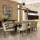 17 Stories Everly 9 Piece Extendable Dining Table Wood/Metal/Upholstered Chairs in Black/Brown/Gray, Size 34.0 H in | Wayfair