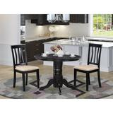 Beachcrest Home™ Langwater Solid Wood Dining Set Wood/Upholstered Chairs in Black/Brown | Wayfair 95B0A1E4B2C2457EB4723A039B668BBC