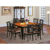 August Grove® Pilcher 9 Piece Butterfly Leaf Rubber Solid Wood Dining Set Wood/Upholstered Chairs in Black/Brown, Size 30.0 H in | Wayfair