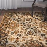 Astoria Grand Watertown Oriental Hand Hooked Wool Beige/Area Rug Wool in Brown, Size 117.0 H x 93.0 W x 0.75 D in | Wayfair ATGD7761 41399873