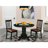Beachcrest Home™ Langwater 3 - Piece Rubberwood Solid Wood Dining Set Wood/Upholstered Chairs in Black/Brown, Size 30.0 H x 42.0 W x 42.0 D in