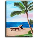DiaNoche Designs 'Strand Chairs on Caribbean' by Markus Bleichner Painting Print on Wrapped CanvasMetal in Black/Blue/Brown | Wayfair