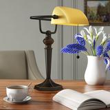 """Charlton Home® Eason 16"""" Antique Bronze Bankers Table Lamp Glass/Metal in Brown, Size 16.0 H x 10.0 W x 13.38 D in 