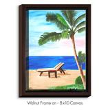 DiaNoche Designs 'Strand Chairs on Caribbean' Print on Wrapped Framed CanvasCanvas & Fabric in Black/Blue/Brown, Size 37.75 H x 25.75 W x 1.0 D in