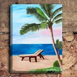 DiaNoche Designs 'Strand Chairs on Caribbean' by Markus Bleichner Painting Print on Wrapped CanvasCanvas & Fabric in White | Wayfair