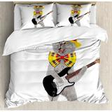 East Urban Home Cat Hipster Musician Kitty Playing Guitar Singing w/ Fun Hat Party Birthday Humor Picture Duvet Cover Set Microfiber in Yellow