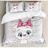 East Urban Home Kitten Cute Cartoon Domestic Cat Cheeks Fluffy I Love My Pet Themed Print Duvet Cover Set Microfiber in Pink/Yellow, Size Queen
