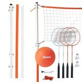 Franklin Sports Starter Badminton & Volleyball Plastic/Metal in Orange/White, Size 3.7 H x 8.0 W x 25.0 D in | Wayfair 50610