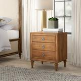 Greyleigh™ Feickert Traditional Style 3 Drawer Wood Nightstand Wood in Brown/Green, Size 19.0 H x 19.0 W x 24.0 D in   Wayfair
