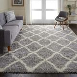 House of Hampton® Schmit Shag Geometric Gray/Ivory Area Rug Polyester in Brown/White, Size 84.0 H x 60.0 W x 2.0 D in | Wayfair