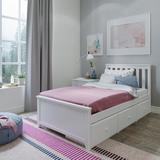 Sand & Stable™ Baby & Kids Amalfi Platform Bed Wood in White, Size 38.5 H x 42.5 W x 80.5 D in | Wayfair 2442B7D7FA874F28A6C3429B4F8423C7