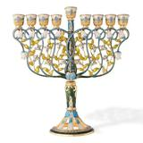 Matashi Crystal 24K Gold & Blue Crystals Tall Hand Painted Embellished w/ a Intertwining Flowers Design Menorah Pewter in Blue/Gray/Yellow | Wayfair