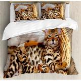 Ambesonne Kitten Little Bengal Cats in Basket Cuddly Purebred Kitties Domestic Feline Duvet Cover Set Microfiber in Brown/White, Size King | Wayfair