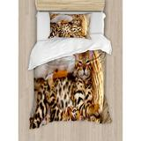 Ambesonne Kitten Little Bengal Cats in Basket Cuddly Purebred Kitties Domestic Feline Duvet Cover Set Microfiber in Brown/White, Size Twin | Wayfair