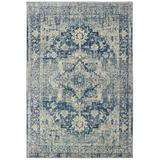 World Menagerie Pateros Distressed Medallion Power Loom Ivory/Blue Rug Polypropylene in Blue/Brown, Size 114.0 H x 79.0 W x 0.35 D in | Wayfair