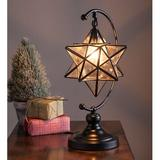 """Plow & Hearth 17"""" Arched Table Lamp Glass/Metal in Black, Size 16.5 H x 8.0 W x 8.0 D in   Wayfair 59H58"""