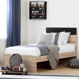 South Shore Induzy Twin Platform Bed Wood in Black/Brown/Gray, Size 41.0 W x 77.5 D in | Wayfair 11022