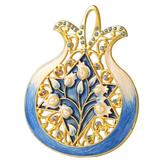 The Holiday Aisle® Pomegranate w/ Star of David Holiday Shaped Ornament Crystal in Blue/Yellow, Size 4.5 H x 3.5 W x 1.0 D in   Wayfair
