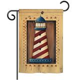 Breeze Decor Patriotic Lighthouse Coastal 2-Sided Polyester Garden Flag Metal in Brown, Size 40.0 H x 28.0 W in   Wayfair