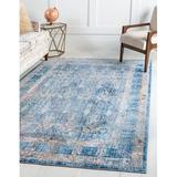 Bungalow Rose Rosamonde Oriental Blue/Gold Area Rug in Blue/Brown/Yellow, Size 120.0 H x 96.0 W x 0.33 D in   Wayfair