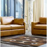 Union Rustic Aiert Southwestern Hand-Woven Flatweave/Tan Area Rug Leather/Cotton in Brown, Size 30.0 W x 0.25 D in   Wayfair