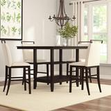 Gracie Oaks Tarra 5 Piece Counter Height Dining SetWood/Glass/Upholstered Chairs in Brown, Size 36.0 H x 42.0 W x 57.0 D in   Wayfair