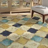 Bungalow Rose Ranstead Geometric Tufted Gold/Blue Area Rug Polyester in Blue/Brown/Yellow, Size 96.0 H x 60.0 W x 0.31 D in | Wayfair