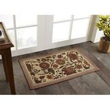 Winston Porter Quesenberry Floral Braided Brown/Beige Area Rug Jute & Sisal in Brown/White, Size 72.0 H x 48.0 W x 0.75 D in   Wayfair