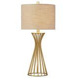 "Willa Arlo™ Interiors East Harptree 28"" Table Lamp Metal/Fabric in Brown/Yellow, Size 27.5 H x 12.5 W x 12.5 D in   Wayfair"