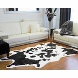 World Menagerie Novelty Seaham Animal Print Handmade Faux Cowhide Area Rug Faux Fur/Cowhide in Black/White | Wayfair