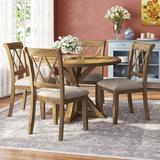Gracie Oaks Leonila Cross-Buck 5 Piece Dining SetWood/Upholstered Chairs in Brown, Size 31.5 H x 48.0 W x 48.0 D in | Wayfair