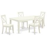 Darby Home Co Beesley Solid Wood Dining Set Wood/Upholstered Chairs in Brown/White, Size 30.0 H in | Wayfair 12B511D89C23456699F936B80FA60143