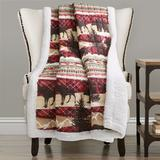 Holiday Lodge Sherpa Throw Red/Brown - Lush Decor 16T003158