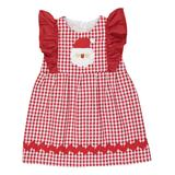 Caught Ya Lookin' Girls' Casual Dresses Red - Red Plaid Santa Applique Angel-Sleeve Dress - Infant & Toddler
