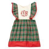 Caught Ya Lookin' Girls' Casual Dresses Green - Green Plaid Monogram Pinafore Dress - Infant & Toddler
