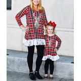 CopyCat Couture Girls' Leggings DEER - Red Deer Plaid Lace-Trim Tunic & Leggings Set - Toddler, Girls, Women & Juniors