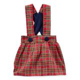 Caught Ya Lookin' Girls' Casual Dresses Blue - Red Plaid Charlotte Jumper - Infant & Toddler