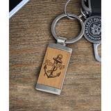 Etchey Key Chains WOOD METAL - Wood & Silver Anchor Personalized Keychain