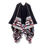 Kollie More Women's Shawls Blk - Black & Red Geometric Boucle Wrap Shawl - Women