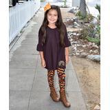 Beary Basics Girls' Leggings LACE - Brown Bell-Sleeve Top & Pumpkin Leggings - Toddler & Girls