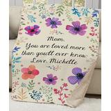 GiftsForYouNow Women's Throws multi - Floral 'Mom' Personalized Sherpa Throw