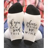 Stamp Out Online Women's Socks white - White Small 'Please Bring Me Wine' Socks - Women