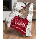 Safdie & Co. Inc. Throws multi - Deer Ribbed Flannel Throw