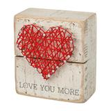 Primitives by Kathy Block Signs - 'Love You More' Heart String Art Box Sign