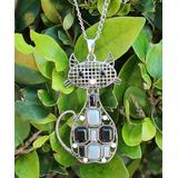 BeSheek Women's Necklaces - Silvertone Parisian Cat Necklace